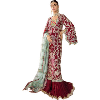 AZAD DYEING Women's  Top heavy net with heavy embrodery PAKISTANI SUIT Unstitched Suit Material