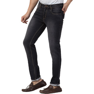 Cliths Black Faded Jeans For Men/ Slim Fit Jeans Pant For Men