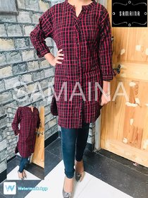 ANUPRIYA FASHION'S TUNIC FOR WOMEN IN WOOL FABRIC WITH ONE SIDE POCKET IN CHECKS