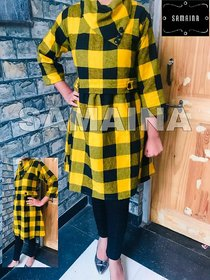 ANUPRIYA FASHION'S TUNIC CUM TOP FOR WOMEN IN WOOL FABRIC WITH FOLD-OVER COLLAR IN YELLOW CHECK