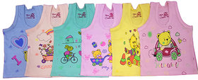 Baby Basic Multicolor Cartoon Print Unisex Toddler Kids/Infants Sando Pack Of 6