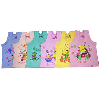 Baby Basic Multicolor Cartoon Print Unisex Toddler Kids/Infants Sando Pack Of 6