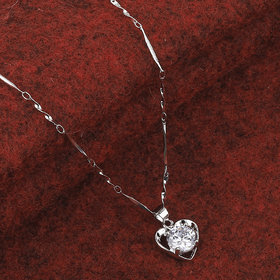 SILVER SHINE  Silver Plated Chain With Big  Heart Shape Solitaire Diamond Pendant For Women