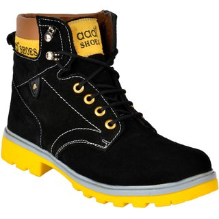 Aadi Men's Black Suede Leather Outdoor Lace-up Casual Boot
