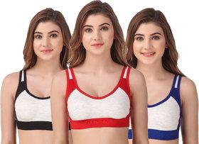 Empisto Branded Red, Blue, Black Color Cotton Fabric Sport Bra