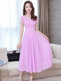 Vivient Women Light Purple Plain Round Neck Georgette Maxi Dress