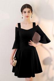 Vivient Women Black Bell Sleeve Cold Sholder Hosery Short Dress