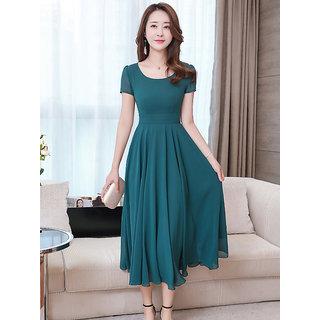 Vivient Green Plain Maxi Dress For Women