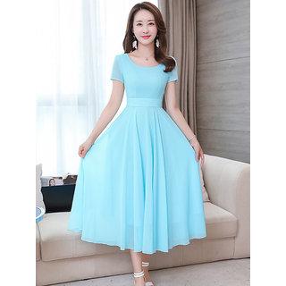 Vivient Cyan Plain A Line Dress For Women Dresses