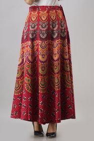 FrionKandy Women's Cotton Red Maxi/Full Length Wrap Around Skirt - Free Size  (Length-38, Waist upto-46) - SHKD1036