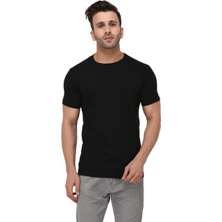 Mastersprice Solid Men Round Neck Black T Shirt T Shirts
