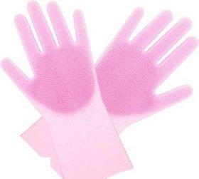 Smart matto Silicone Dish Washing Gloves, Silicon Cleaning Gloves, Silicon Hand Gloves for Kitchen Dishwashing