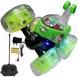 Shribossji Rechargeable Remote Control 360 Movable Stunt Musical Car Toy for kids (character and color may vary)