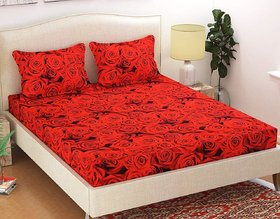 Red Cotton Double Bed Sheet With 2 Pillow Covers by Choco Creation