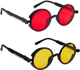 TheWhoop Combo UV Protected Round Red And Yellow Day And Night Sunglasses For Men, Women, Girls, Boys