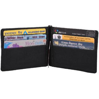 pocket bazar  Boys Black Genuine Leather Money Clip  (6 Card Slots)