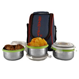 GRANIFY Lunch Box ( 3 Steel Containers With Bag Cover ) H