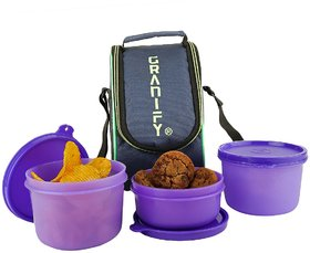 GRANIFY Lunch Box ( 3 Containers With Bag Cover ) J