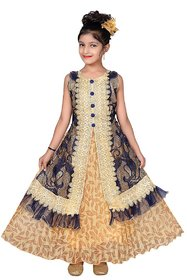 Sky Heights Girls Golden Navy Net Party Wear Gown Frock