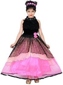 Sky Heights Girls Pink Black Net Party Wear Frock Gown