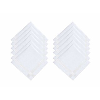 Elite Premium 100 Pure Cotton White Handkerchiefs Combo for Men  Boys - Pack of 12 (with 1 Free Pair of Socks)
