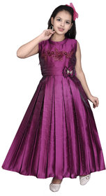 Sky Heights' Girls Wine Purple Frock Gown Party Wear Dress for Kids