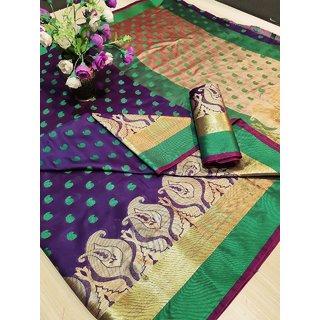 Stark Cotton Silk Saree With Blouse Piece