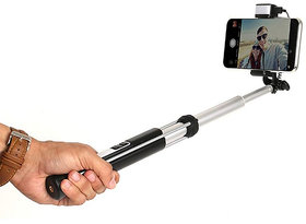 Raptech Selfie Stick For All Smartphones With Compact Wired Selfie Stick For Android Mobiles (Black)