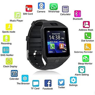 Black Bluetooth Analog Digital Smart Watch with Call Function  3 Months Seller Warranty