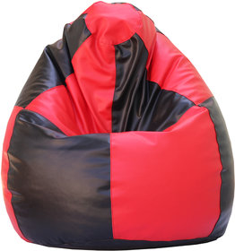 Beanskart Beanbag Without  Beans   Single Seater XXXL- Red-Black