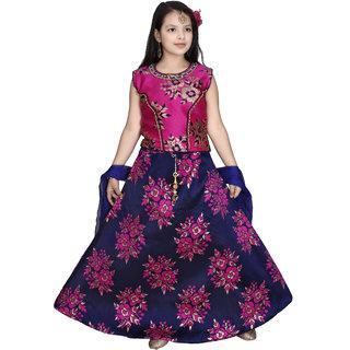 Sky Heights Girls Pink Silk Blend Party Wear Ethnic Lehenga Choli