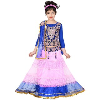 Sky Heights Girls Pink Blue Net Party Wear Ethnic Lehenga Choli