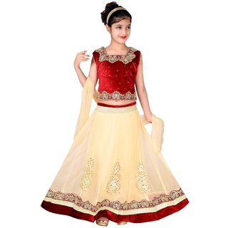 Cream And Maroon Net Party Wear Ethnic Lehenga Choli by BKS COLLECTION