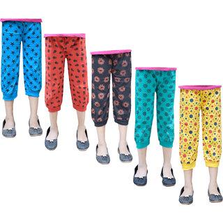 Jisha Girls 3/4th Printed Casual Capri multicolor Set of 5