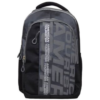 American Tourister Black and Gray Polyester Laptop Bag/ Backpacks