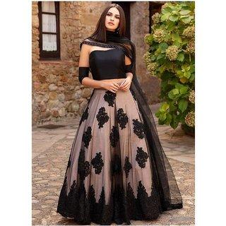 Designer Cream and Black Colour  Net Material Lahengha choli (RFChikublack)
