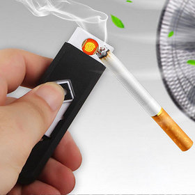 USB Flameless, Windproof, Electronic and Rechargeable Cigarette Lighter - Black