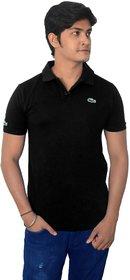 Men's Solid Black Polo T-Shirt