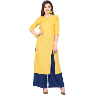 Florence Yellow Slub Cotton Embellished Stitched Kurtas with Palazzo