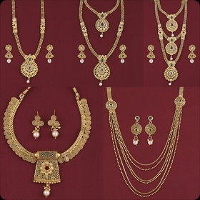 SILVER SHINE Gold Plated Traditional Designer Long Set Combo For Women Set of 5