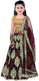 Femisha Creation Maroon Taffeta Satin Embroidered Latest Designer Kids Girls Party Wear Lehenga Choli(Free Size).