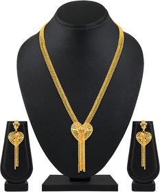 ASMITTA JEWELLERY Heart Shape 1 Gram Gold Plated Multi String Brass & Copper Gold Necklace Set For Women