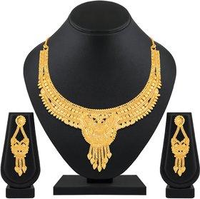 Royal 1 Gram High Gold Plated Choker Necklace Set for Women
