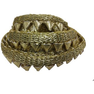 De-Ultimate CWG0020-03 (9 Mtr) Roll Of Golden Gota Patti Embroidery Trim Lace Border with 1.27 cn Width