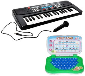 Combo of 37 Key Piano Keyboard Toy with DC Power Option, Recording and Mic With learning English Mini Laptop for kids