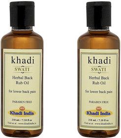 Khadi Swati Herbal Back Rub Oil - Pack of 2 (210 ML Each)