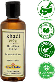 Khadi Swati Herbal Back Rub Oil - 210 ML