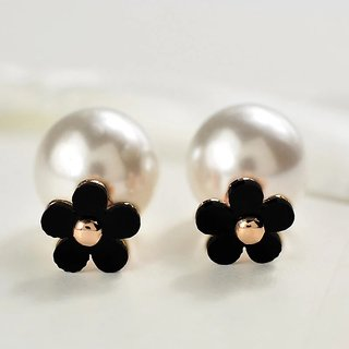 Stylish Designer Fashion Gold Plated Black Flower and Pearl Studded Double Sided Womens Fashion Earrings