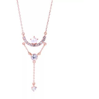 Buy Skyword Fabulous Cubic Zirconia Pearl Studded Rose Gold Womens Long Fashion Necklace Online Get 71 Off