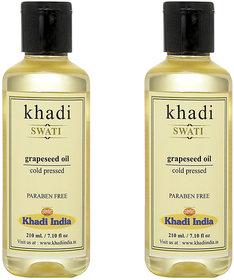 Khadi Swati Grapseed Oil - Pack of 2 (210 ML Each)